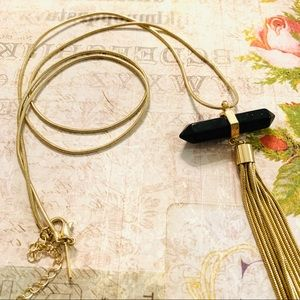 Gold Tone Necklace with Black Crystal